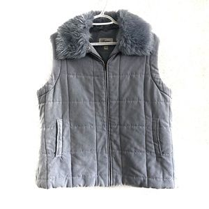 Ultra suede look vest with faux fur. Size XL